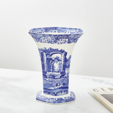 Blue Italian Sexkantig Vas H 27 cm
