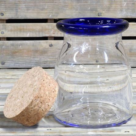 Blå kant Sillburk, H 10cm