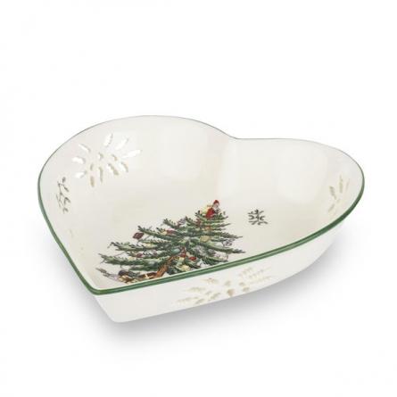 Spode Christmas Pierced hjärta fat