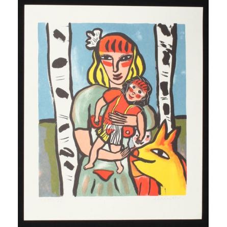 Kvinna with barn i famn Litografi on papper